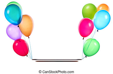 flying balloons holding empty silver tray isolated on a...