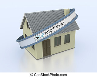 online real estate - one house with a web address bar,...