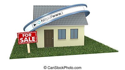 online real estate - one house with a web address bar and a...