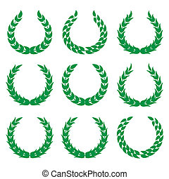 green laurel wreaths 1 isolated on white backgrounds.