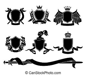 Set of heraldic black emblems - Set of different heraldic...