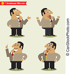 President emotions in poses, standing set vector...