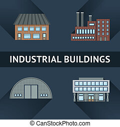 Industrial and business building icons set vector...