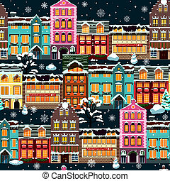 Winter houses seamless night vector illustration