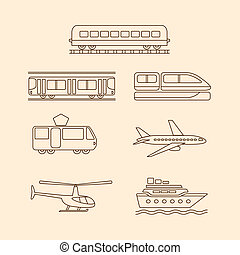 Transportation icons of tram, subway, train, airplane,...
