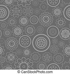 Dark seamless gear wheels pattern background vector...