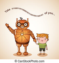 Baby sitter robot with child vector illustration
