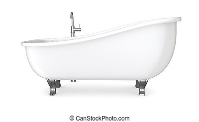 vintage bathtub - one vintage bathtub with the faucet 3d...