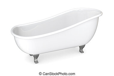 vintage bathtub - one vintage bathtub on white background...