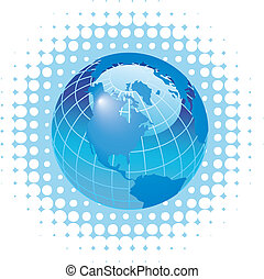 Globe on dot background