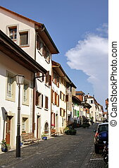 Street in old city, Estavayer-le-lac, Switzerland