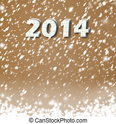 Snow-covered Paper numbers of new 2014 with confetti on an...