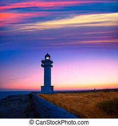 Formentera sunset in Barbaria cape lighthouse