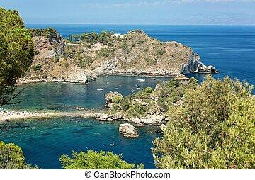 Coastline Taormina, Sicily, Italy - Isola bella beach, near...