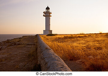 Barbaria cape Lighthouse in Formentera Balearic islands -...