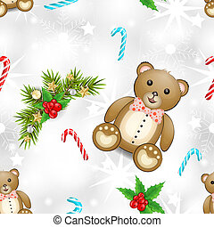 Christmas pattern with teddy bear