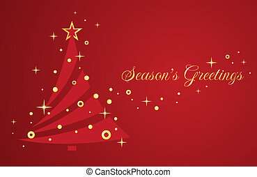 Christmas tree on red background Greeting card Vector...