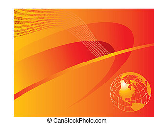 orange and red globe background - An orange and red...