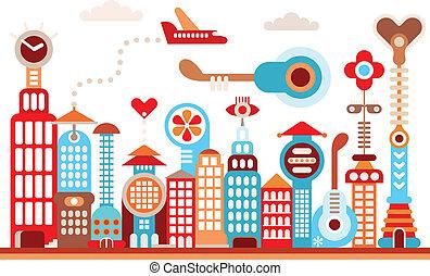 Future city - Cityscape of future city. Fantastic buildings...