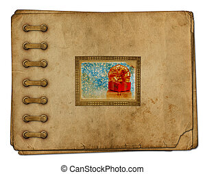 Vintage photoalbum for photos with gift boxes and beautiful...
