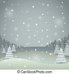 Vintage color Christmas vector card with winter landscape.
