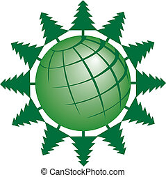 Evergreen trees circling the globe - A vector evergreen tree...