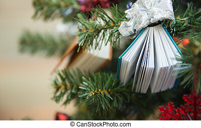 tree book - Christamas tree decoration with two small books