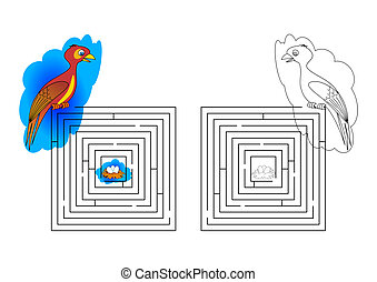 Dungeons and coloring pages for kids with a bird nest -...