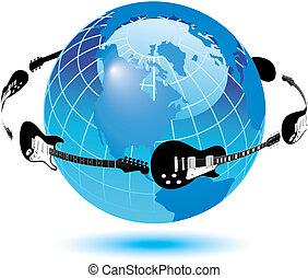 Guitars circle the earth in vector format