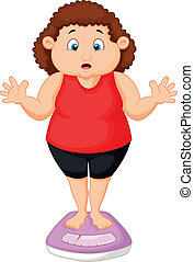 Fat woman cartoon very worried with - Vector illustration of...