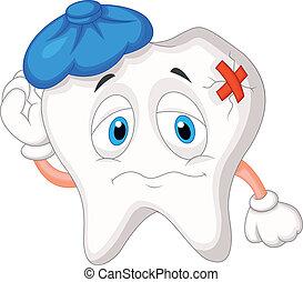 enfermo, diente, caricatura