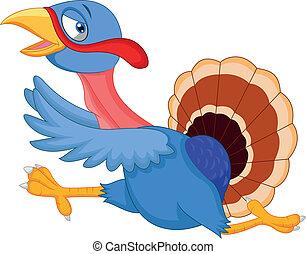Cartoon turkey running - Vector illustration of Cartoon...