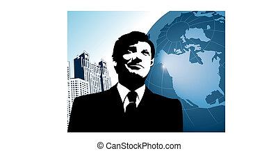 businessman with globe and city