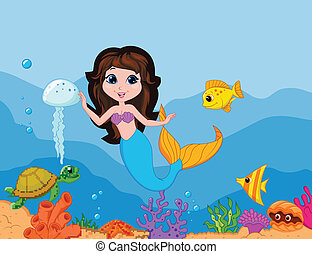 Cute mermaid cartoon waving hand - Vector illustration of...