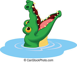 Crocodile cartoon open its mouth - Vector illustration of...