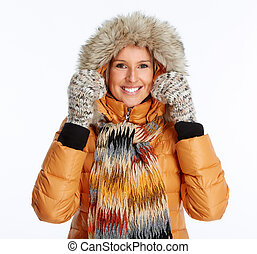Young woman wearing winter coat - Young woman wearing winter...