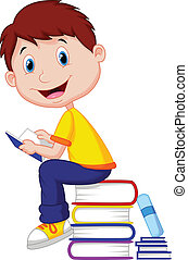 Boy cartoon reading book