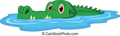 Cute crocodile cartoon swimming - Vector illustration of...