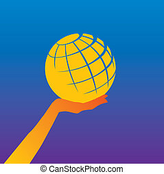 globe in a hand - illustration of a hand supporting a...
