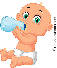 Cute baby cartoon drinking milk fro - Vector illustration of...