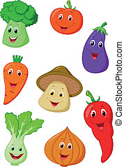 Cute vegetable cartoon - Vector illustration of Cute...
