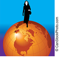 businesswoman on  the world