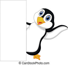 Cute penguin cartoon with blank sig - Vector illustration of...