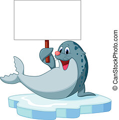 Cute seal cartoon holding blank sig - Vector illustration of...
