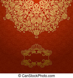 Royal background - Elegant gold frame banner with crown,...