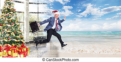 Businessman jumping on the water. Christmas season.