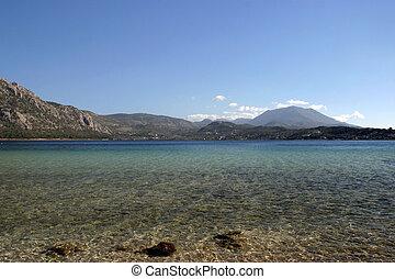 Clear mountain lake - Lake of Hera, Greece, water, mountains...