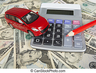 Car money and calculator. Payments and costs.