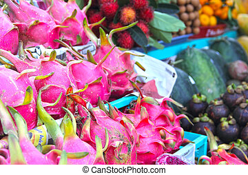 Exotic fruits on asian market close-up