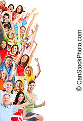 Goup of happy people - Group of happy people isolated on...